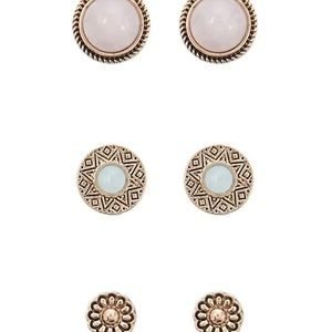 BRAND NEW Faux Gem Stud Earring Set